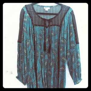 STYLE & Co. Paisley Mist Peasant Top - 2X